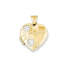 14k & Rhodium Daughter Floral 18mm Heart Locket