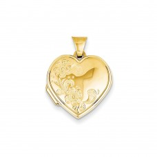 14K 18mm Polished Heart-Shaped Floral Locket
