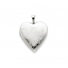 14K 20mm White Gold Side Swirl Heart Locket