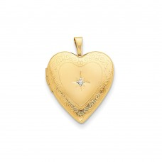 14K 20mm Side Swirls w/ Diamond Heart Locket