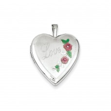 14K 20mm White Gold Enamel Flowers Love Heart Locket