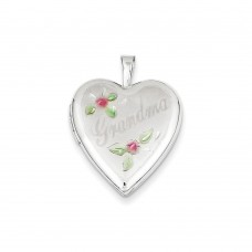 14K 20mm White Gold Enamel Flowers Grandma Heart Locket