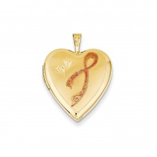 14K 20mm Enamel Breast Cancer w/ Hearts Heart Locket