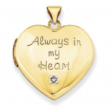 14k 21mm Heart with Diamond Locket