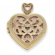 14K 24mm Heart w/Diamond Vintage Locket